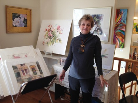 Donna Fratesi with her work at Art in Action 2013