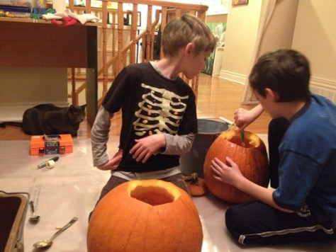 The boys carving pumpkins ... on my packaging material!