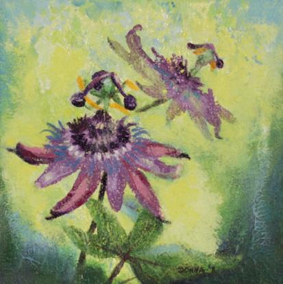"Passion flower study, 8""x8"", acrylic on canvas, © 2011 Donna Grandin"