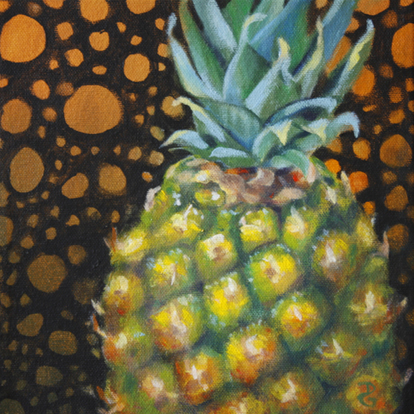 "Pineapple, 8""x8"", acrylic on canvas, © Donna Grandin, 2014. $125."