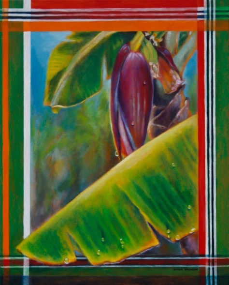 "Madras banana in rain, 20""x16"", acrylic on canvas, ©2014 Donna Grandin. $800."