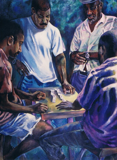 "Domino players, 48""x36"", acrylic on canvas, © 1998 Donna Grandin"