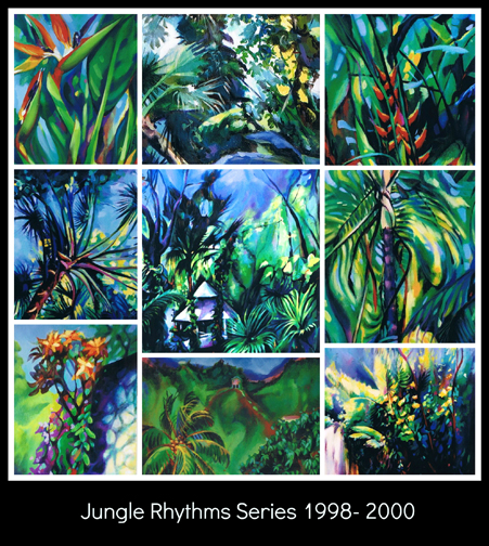 Jungle Rhythms series collage, Donna Grandin