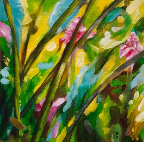 "Torch Ginger Trio 1, 6""x6"", acrylic on canvas, © 2014 Donna Grandin. $100."