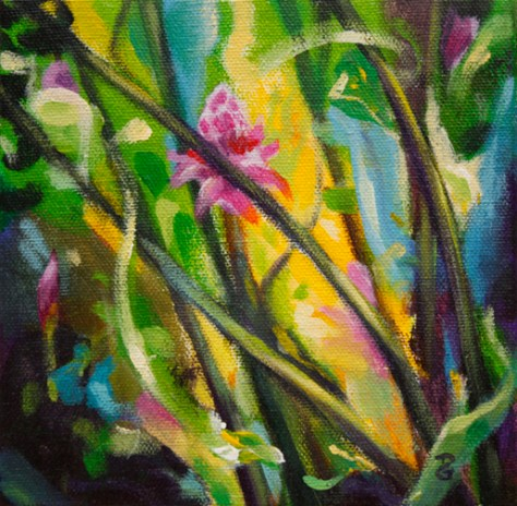 "Torch Ginger Trio 3, 6""x6"", acrylic on canvas, © 2014 Donna Grandin. $100."
