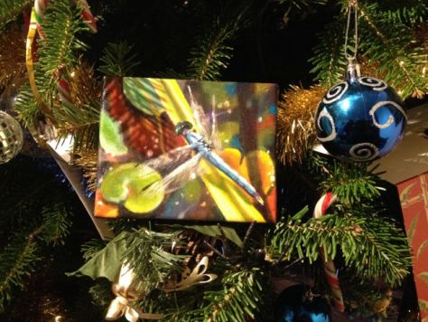 """""""Watching"""", original acrylic painting by Donna Grandin, prize for Christmas Contest 2014"""