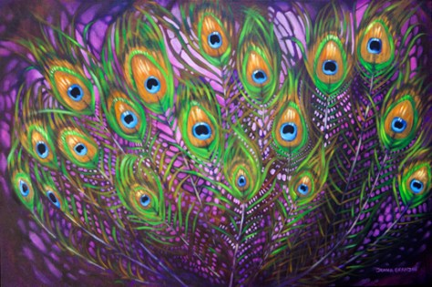 Boudoir - peacock feather painting