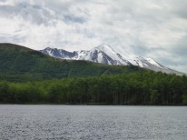 Partial view of the Mt. St. Helens creater near the dock