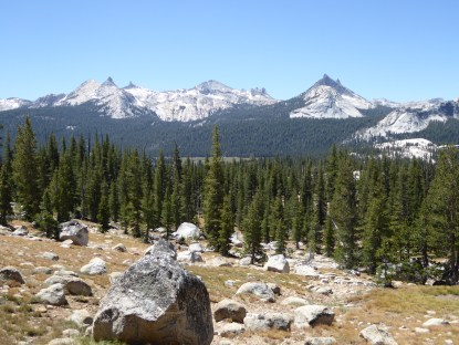 Heading north from Tuolumne, Cathedral Peak to the south