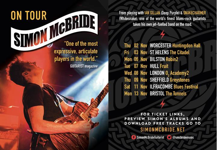 Simon McBride On Tour Across U.K. November 2017