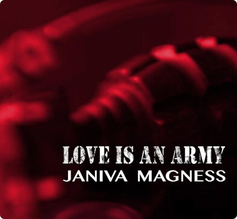 Janiva Magness throwing velvet grenade for Army of Love