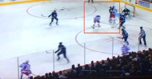 Puck clearly goes off Hagelin's stick here.