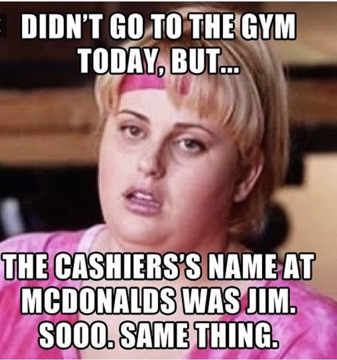 meme about going to mcdonalds instead of the gym