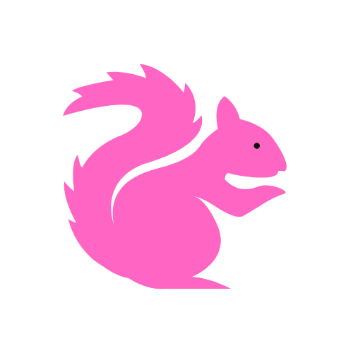 a pink squirrel graphic for my new logo