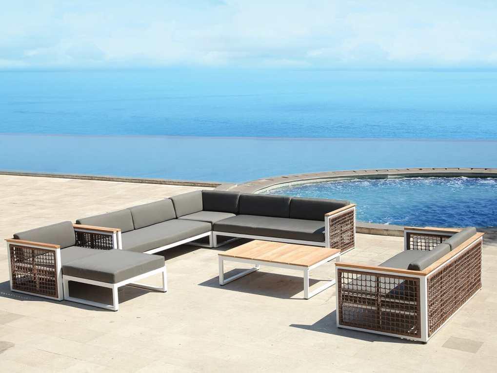 Modern Couch Loveseat Set, Grey Cushion - Waterside