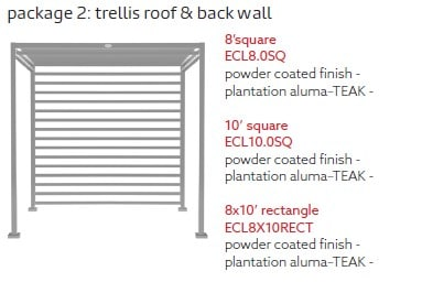 Tuuci Eclipse-Trellis Roof and Back Wall Diagram - Silver