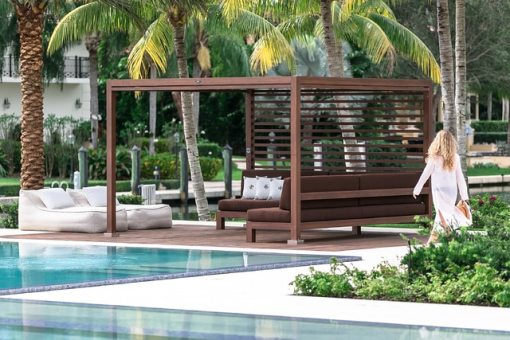 Tuuci Equinox Cabana, Brown Couch - Poolside