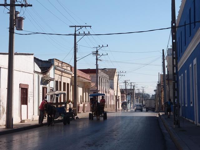 Cienfuego street view, Cuba, Blue Sky and Wine