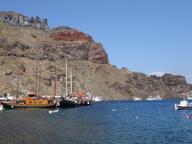 Thirassia island Santorini, Greece, Blue Sky and Wine