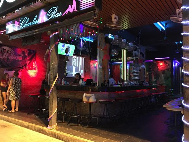 Patong beach bar street, Phuket Thailand, Blue Sky and Wine
