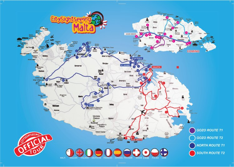 Malta bus map, Blue Sky and Wine