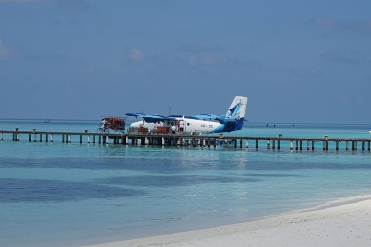 Seaplane in Club Med Kani, Maldives, Blue Sky and Wine