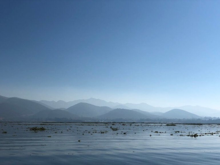 misty mountain range inle lake myanmar, Blue Sky and Wine
