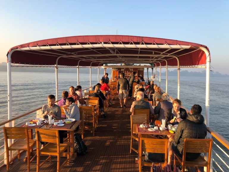 Blue Sky ad Wine, Boat trip from Mandalay to Bagan, RV Panorama ship upper deck