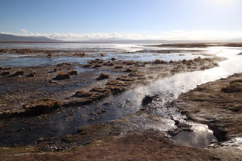 Hot spring, Eduardo Avaroa National Park, Bolivia, Blue Sky and Wine