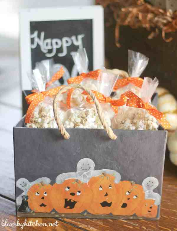 2 Pumpkin Popcorn Snacks ~ 1 Spicy and 1 Sweet; one for adults watching football games and one for trick or treats on Halloween.