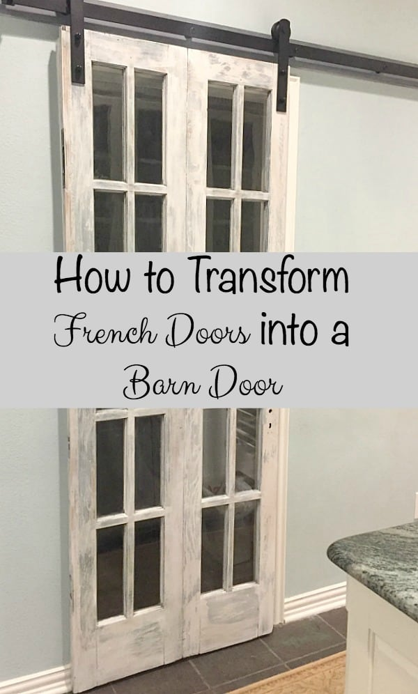 How to Transform French Doors into a Barn Door ~ how we made flea market French & How to Transform French Doors into a Barn Door ~ Bluesky at Home