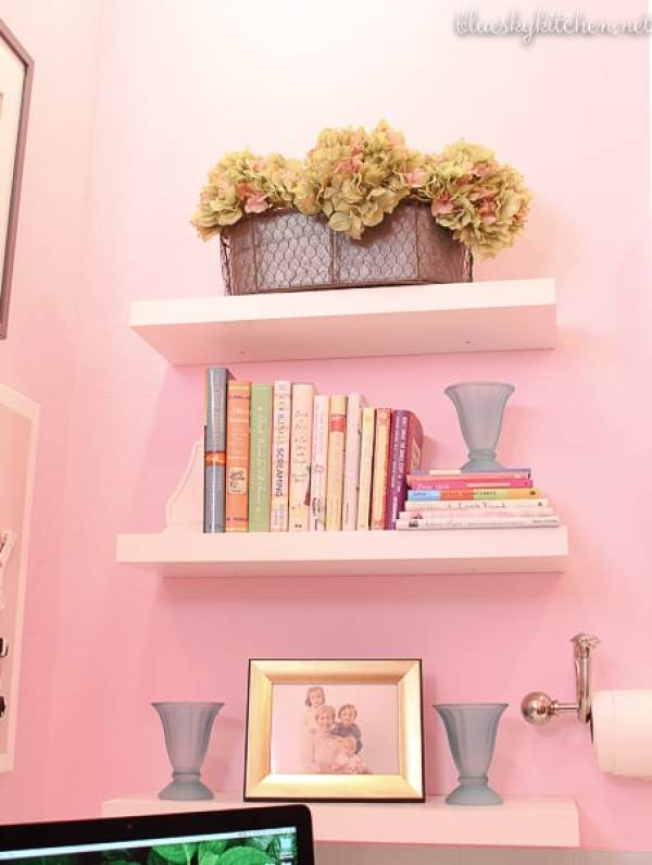 Home Office Reveal floating shelves from Lowe's