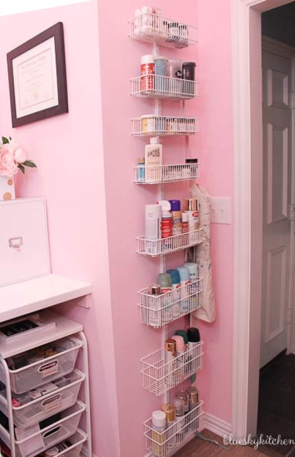Home Office Reveal ~ Awesome Efficiency in a Pretty Little Space shows you that a home office doesn't need much square footage to be pretty and practical.