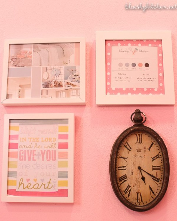 Home Office Reveal decorative wall art and clock