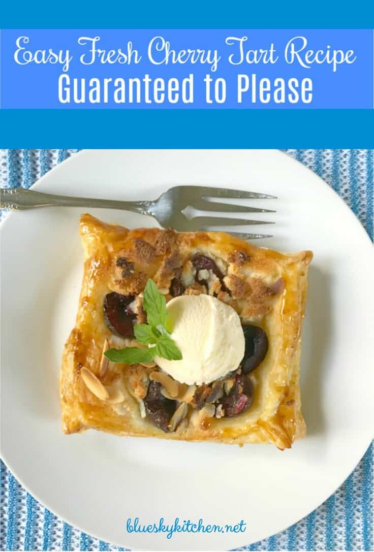 Fresh Cherry Tart Recipe Guaranteed to Please. This pretty cherry tart dessert uses puff pastry and is so easy your kids can help you make it.