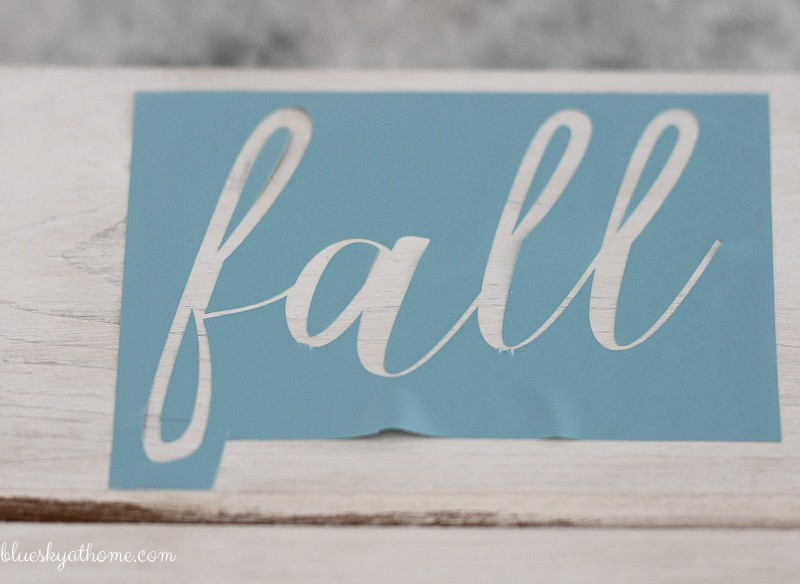 DIY Fall Farmhouse Sign with DIY Cricut Stencil. Learn how to make a farmhouse sign using your own customized DIY stencils with a Cricut. BlueskyatHome.com