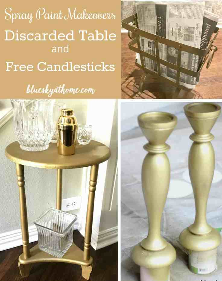 Spray Paint Make Overs ~ Discarded Table and Free Candlesticks. For under $10, a little spray paint works wonders on 2 discards. BlueskyatHome.com