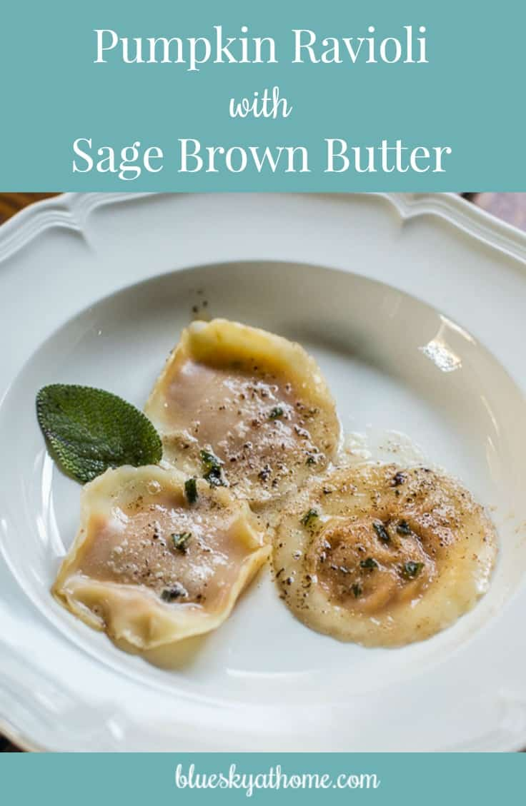 Pumpkin Ravioli with Sage Brown Butter Appetizer ~ delicious and impressive little morsel packed with flavor. Great dish for entertaining. BlueskyatHome.com