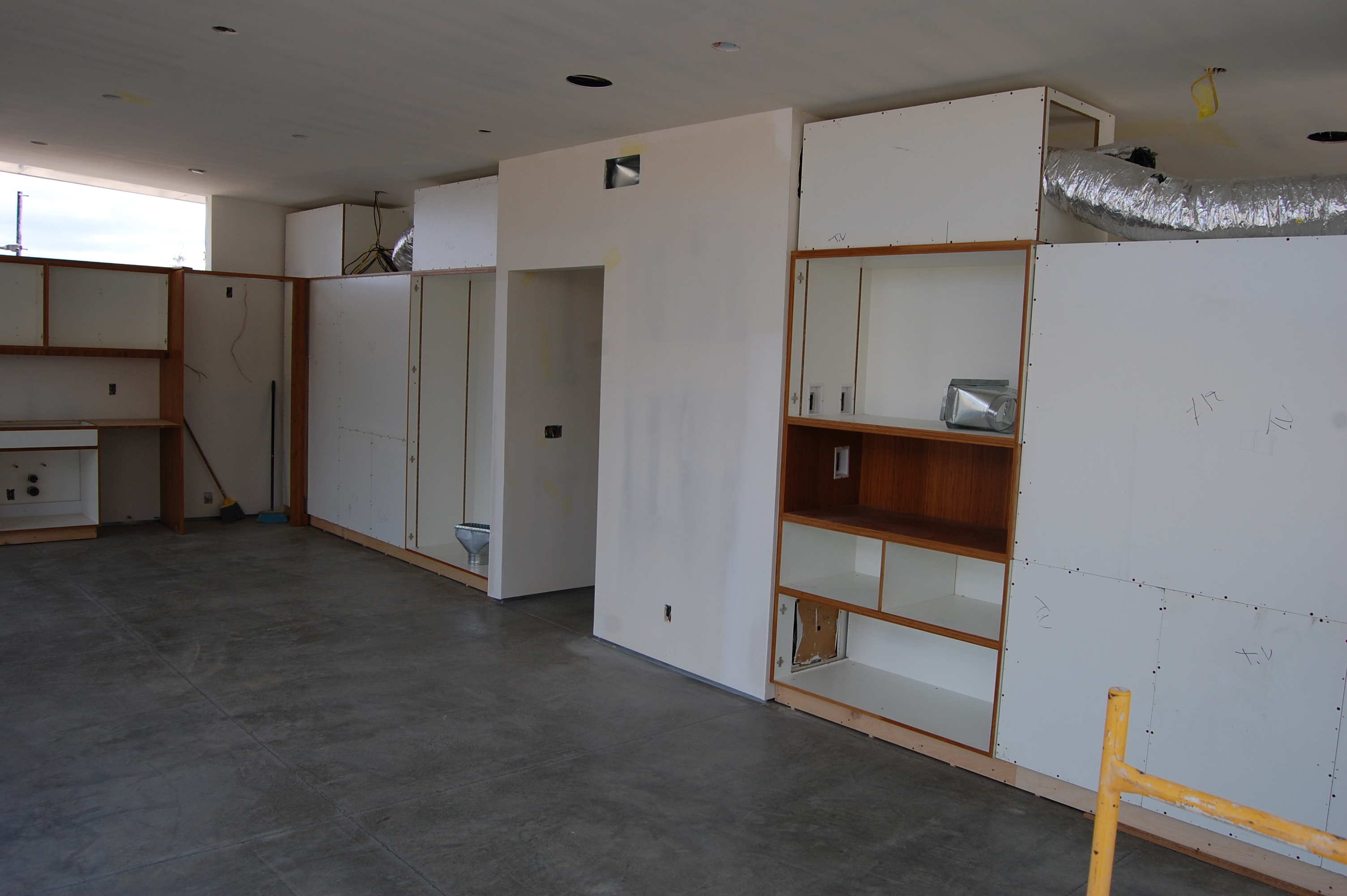 Cabinets seen from the living room side.