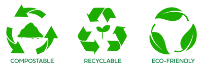 Eazy Grow System icons for eco-friendly, recyclable, and compostable; this system is a sustainable alternative to rockwool