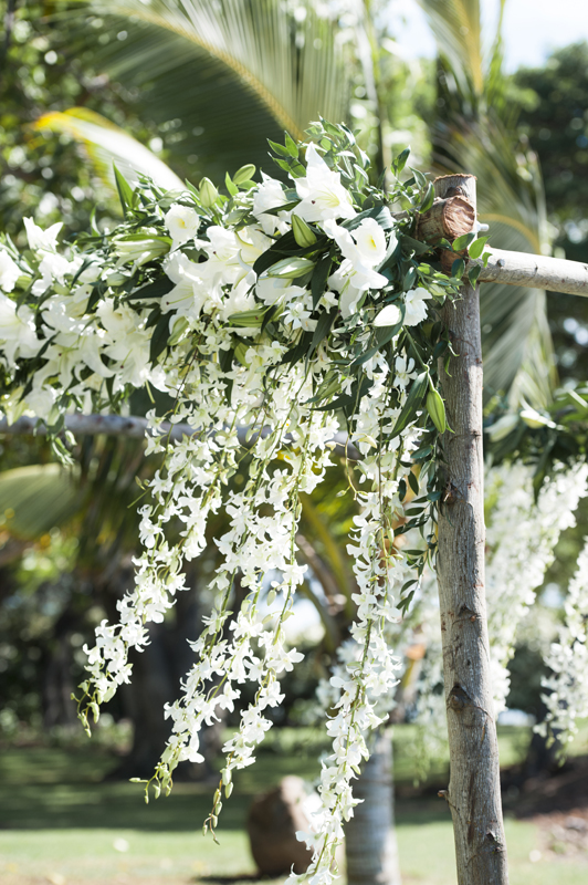 Ethereal wedding arch with delicate white flowers maui