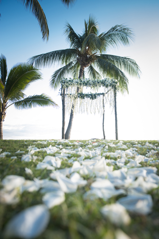 Aisle of white rise petals for maui wedding