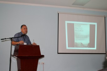 "Figure 3: Mark Raymond presenting ""An Architecture of Sustainability"""