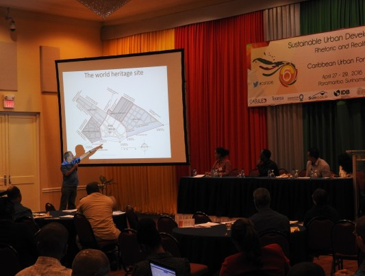 "Figure 3 Philip Dikland presenting ""Wild West Paramaribo growth"" under the theme 'Sustainable Urban Development'"