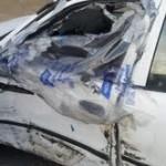 Wrecked White Car