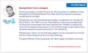 Recognition From a Dragon - Blue Star Print Solutions scoops #SBS win
