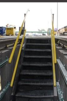 Pit handrails that retract.