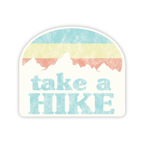 aqua, orange, and yellow Take a Hike sticker