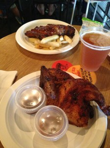 Roast ribs, chicken and peach beer