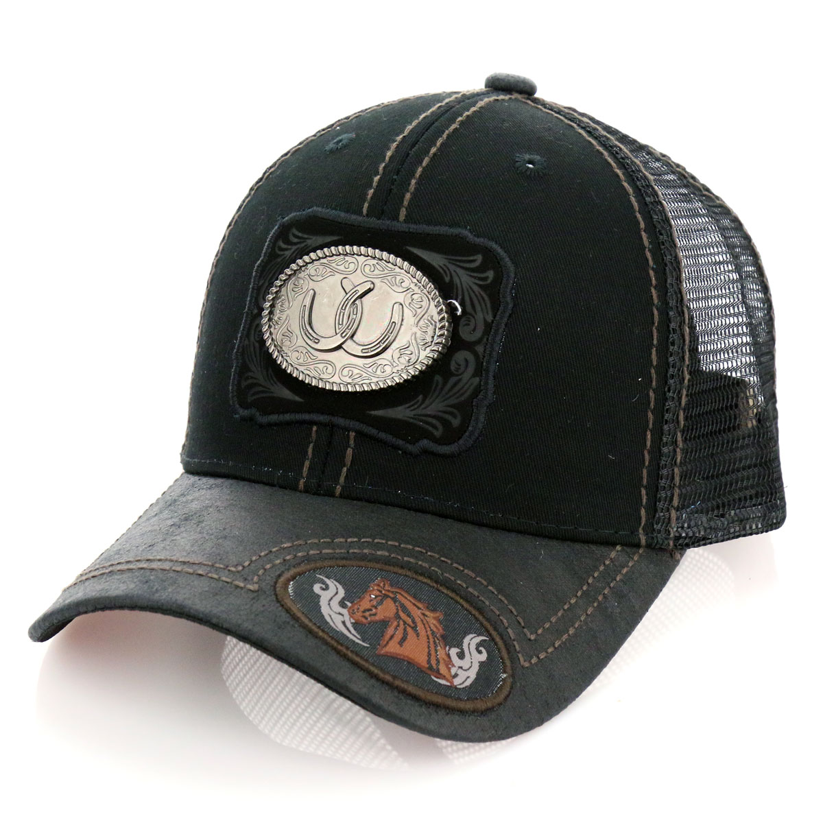 Pitbull Horse Shoe Patch Metal Cotton Vintage Mesh Ball Cap-PB-116/BLK